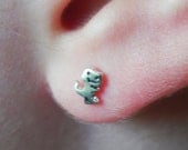 So tiny T-Rex stud earrings in sterling silver - nose studs - Dinosaur studs mini studs