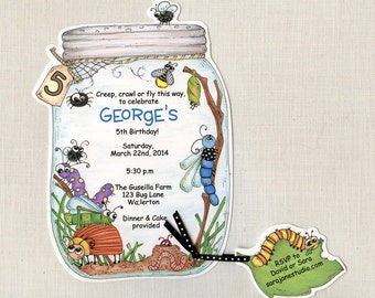10 Bug Jar Birthday Party Invitations | Summer Birthday Invite | Bug Birthday | 5x7 Personalized Invitation | Insect Birthday Invitation