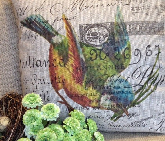 """Bird Pillow Slip Cover French Script and Burlap Pillow Slip """"Head Over Heels"""" by Gathered Comforts"""