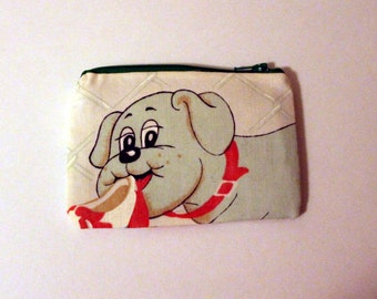 Pound Puppies Zipper Pouch - Small Zip Pouch Coin Purse Wallet - Upcycled made from vintage fabric
