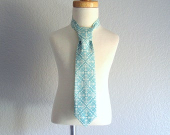 Little Boys Necktie - Pre-Tied Necktie in Aqua and Cream - Velcro Fastening Tie -  Available in Sizes Xs, S, M, and L