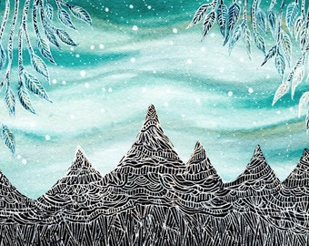 Mountain Print // Fine Art Print // Nursery Art // Aurora and the Elk Mountains