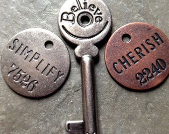 Believe, Simplify and Cherish Mixed Metal Key and Charm Pendants