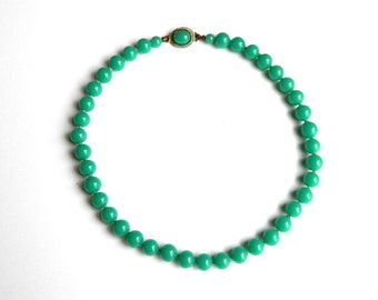 "Vintage  Peking Glass Green Jade Bead Necklace - Slide Clasp - 16"" Long - Weight 44 Grams"