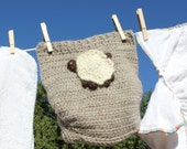 Custom Wool Crochet Diaper Soaker Cover with Sheep Applique