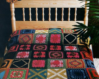 Vintage Granny Square Patchwork Afghan Crochet Pattern PDF Download