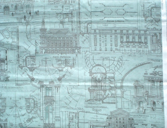 Etchings building plans aqua/gray 3 Sisters moda fabrics FQ or more