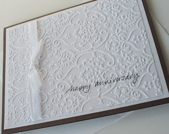 Anniversary Greeting Cards:  Handmade Blank Note Card - Graceful Years