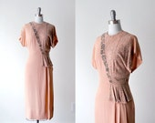 1930's beaded dress. 30's pink dress. orange & silver gown 1930. m. rayon dress 30.