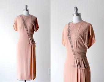 1930's beaded dress. 30's pink dress. orange & silver gown 1930. m. rayon dress 30.