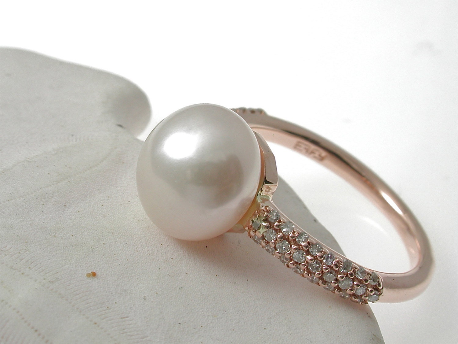 Pearl And Diamond Ring Pearl Engagement Ring Pink Pearl