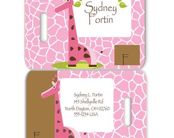 Giraffe Girl Personalized Bag or Luggage Tag, Custom Personalized Diaper Bag Tags, Monogrammed Bag Tags, Custom Monogrammed Bag Tags