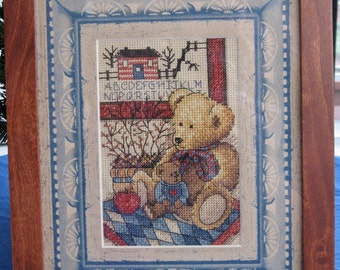 Framed Country Teddy Bears Cross Stitch