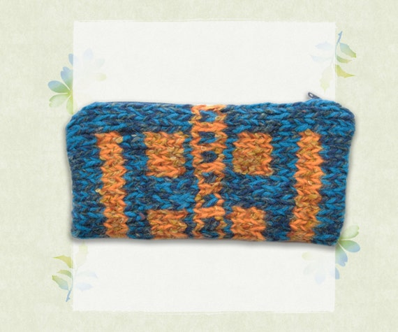 Pencil Case - Zipped Blue and Orange Pencil Case in Greek Geometric Taverna Design - Stationery Gifts for Students - Back to School Gifts