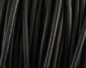 1mm Black Leather Cord, Round, Genuine, Natural Dye, Lead Free, Soft, Choose Length