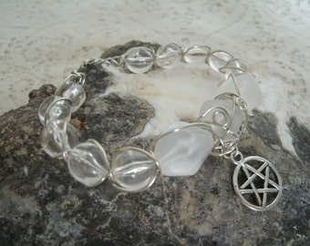 Wire Wrapped Pentacle Bracelet, wiccan jewelry pagan jewelry wicca jewelry witchcraft metaphysical witch pentagram goddess wiccan bracelet