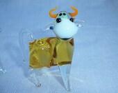 Vintage Set of 2 Miniature Blown Glass Bulls