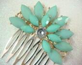 Tiff blue wedding hair comb / rhinestone bridal hair comb / aqua seafoam green mint wedding comb flower bridal headpiece