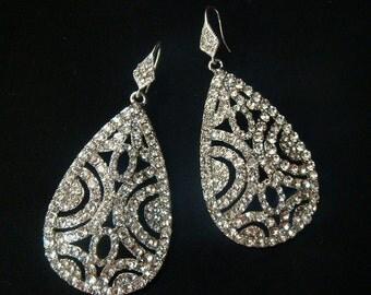 Bridal Rhinestone Teardrop Earrings / art deco earrings / Swarovski crystal wedding earrings drop earrings chandelier