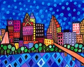 60% Off- Austin Art Art Print Poster by Heather Galler Texas Cityscape Modern Abstract Folk Art (HG142)