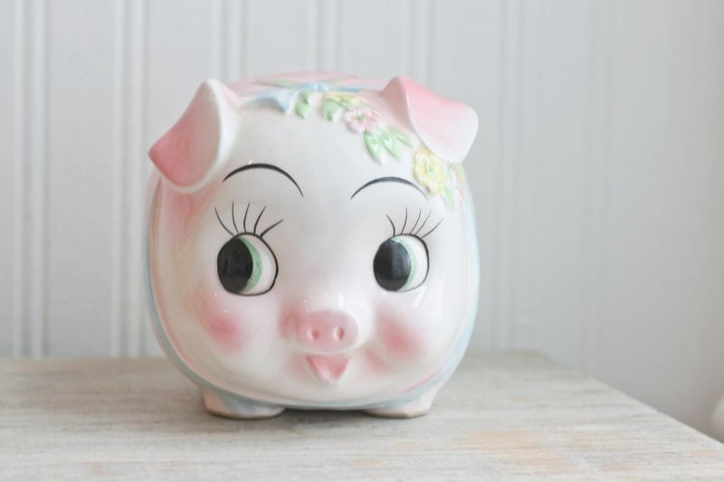 Pink piggy bank pink pig vintage bank baby girl bank by mollyfinds