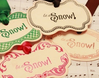 Christmas Tags (Doubled Layered) - Let it Snow Assortment - Handmade Vintage Inspired Christmas Gift Tags - Vintage Winter Tags - Set of 8
