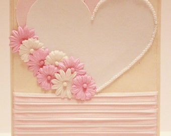 Valentine's Day Card - My One and Only - Handmade Valentine's Day Greeting Card (White & Pink)