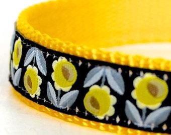 Daffodil Dog Collar, Flower Pet Collar, Yellow and Black Dog Collar, Garden Dog Collar