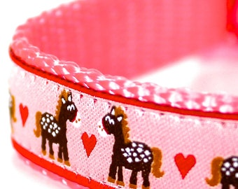 My Pink Pony Dog Collar / Pet Accessories / Handmade / Adjustable