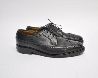vintage leather wingtips shoes dress shoes wingtip florsheim imperial mens size 8 1/2 D - 8.5