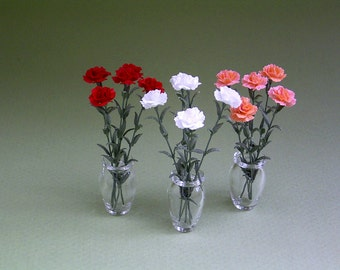 Carnation Paper Flower Kit  for 1/12th scale Dollhouses, Florists and Miniature Gardens