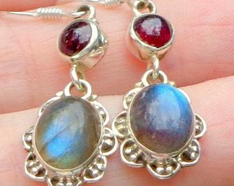 PS, 8.75ctw Labradorite, Garnet, Sterling Silver Earrings