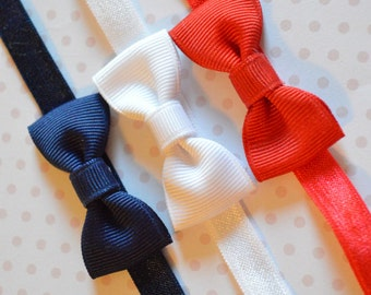 Baby Bow Headband Set. Set of 3. Navy Blue, White & Red. Baby Bow Headbands. Baby Hair Accessories. Baby Girls Hair Accessories. Set