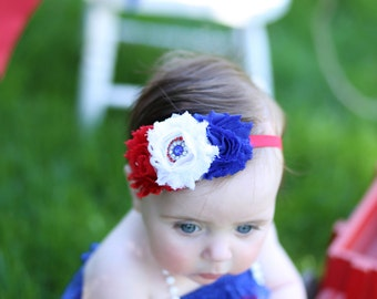 Fourth of July Headband. Red, White & Blue Shabby Chic Flower Headband. Baby Headband. Baby Hair Accessories. Girls Hair Accessories