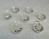 "1/2""  Tags Hand stamped personalized custom customized sterling silver names dates charms disc"