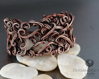 Swirled copper cuff, antique vintage look, adjustable cuff, copper tree, natural copper bracelet
