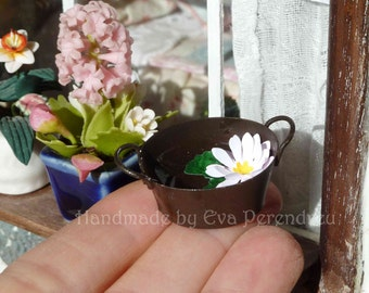 Rusty tub with a waterlilly or lotus for your miniature garden or terrarium, two times treasury item