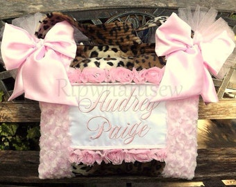 Light Pink Rose Cuddle Fabric Satin Bows Black n White Faux Fur Diaper Bag