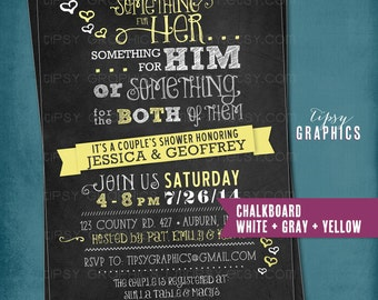 Chalkboard Something for Him, Her or Something for the Both of Them. CHEVRON Co-Ed Wedding Shower Invite By Tipsy Graphics. Any colors