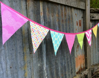 Fabric Bunting Flags Party Banner Colorful Dots, pink, orchid yellow, aqua, bamboo green, blue fabric birthday banner party decoration