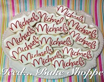 Custom Logo Cookies - Hand Iced Large Sugar Cookies - One Dozen Custom Made