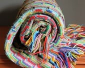 Vintage Crochet Quilt  - Shabby Chic Home and Cottage Decor - Striped Design - Colorful Rainbow Photography Prop - Afghan Granny Blanket
