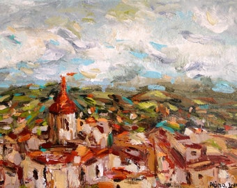 "Village View SALE 9""x12"" acrylics on canvas original small painting"