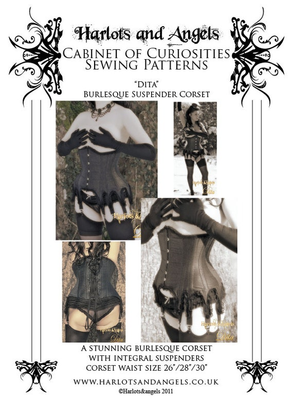 Burlesque Underbust Corset Paper Sewing Pattern with