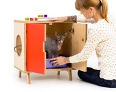 The MINI Cabinet // Mid Century Modern Pet Furniture // Cat Litter Box Cover // Pet House // Side Table