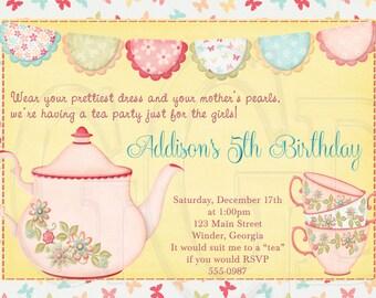 Tea Party Invitation Birthday Dress-up Party -Digital File