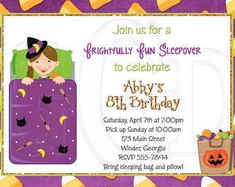 Halloween Slumber Party Invitation Pajama Party  -Digital File