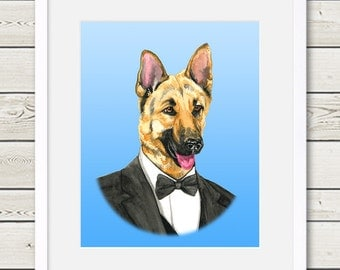 German Shepherd Art - German Shepherd Groom Dog Portrait Painting - Wedding Dog Art, dog home decor