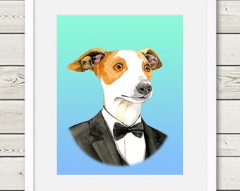 Italian Greyhound Art - Italian Greyhound Groom Dog Portrait Painting - Wedding Dog Art, dog home decor, dog gift