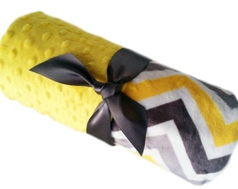 Gray Charcoal and Yellow Chevron Minky Security Blanket